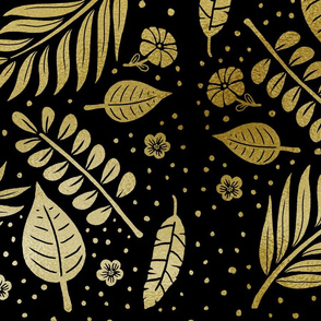 Black and Gold Tropical Leaves