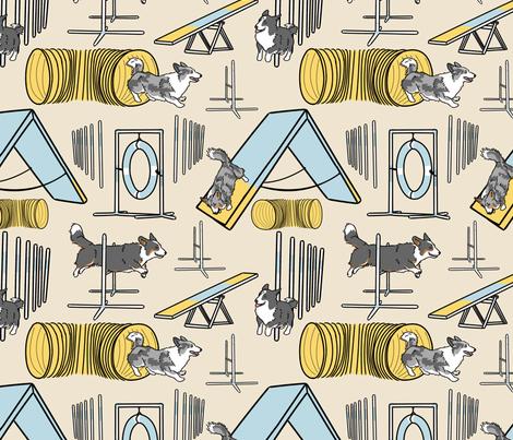 Simple Cardigan Welsh Corgi agility dogs B - tan fabric by rusticcorgi on Spoonflower - custom fabric