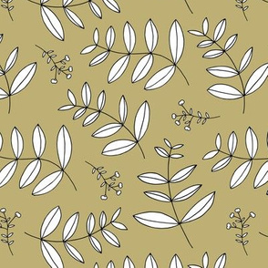 Large spring leaves and cotton branch botanical garden print soft sand beige