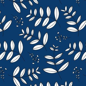 Large leaves and cotton branch botanical garden print fresh navy blue