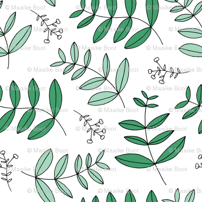 Large leaves and cotton branch botanical garden print lush green