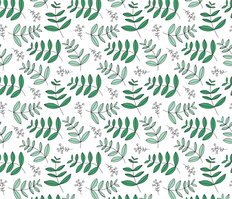 Large leaves and cotton branch botanical garden print lush green fabric by littlesmilemakers on Spoonflower - custom fabric