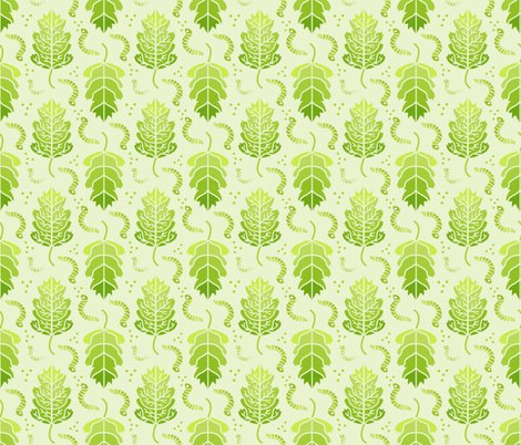 Little Green Nibblers, Spring Worms, Green Leaves fabric by galleryinthegardendesigns on Spoonflower - custom fabric