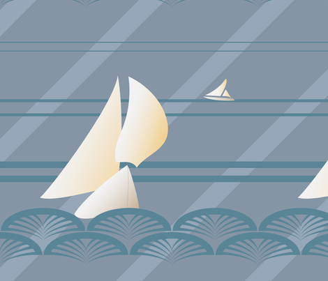 Sailing Art Deco fabric by julia_diane on Spoonflower - custom fabric