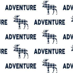 Adventure Moose - Navy + Grey Plaid Buffalo Check Boys Bedding Ginger Lous