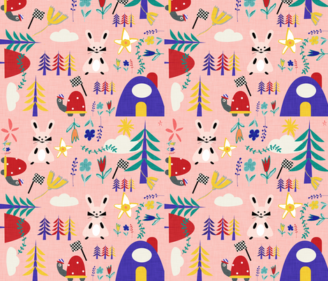 Tortoise and the hare pink  fabric by bruxamagica on Spoonflower - custom fabric