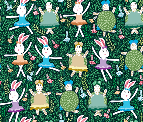 dance with friend 01 fabric by y_me_it's_me on Spoonflower - custom fabric