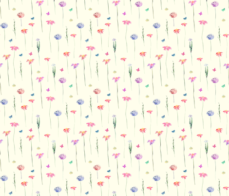 Tender meadow || watercolor fabric by katerinaizotova on Spoonflower - custom fabric