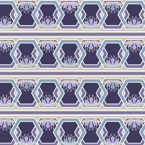 Hexagon and Lotus Stripe Borders in Violet, Blue and Khaki