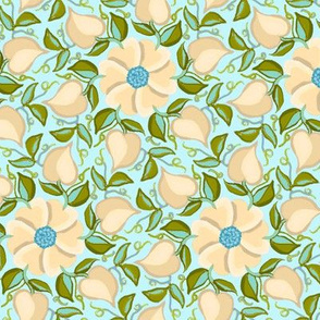 Heart Vines Cream and Aqua Blue