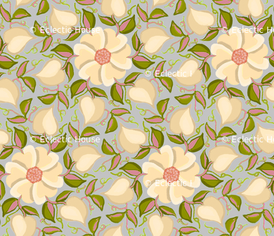Heart Vines Cream Pink and Green