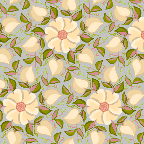 Heart Vines Cream Pink and Green fabric by eclectic_house on Spoonflower - custom fabric