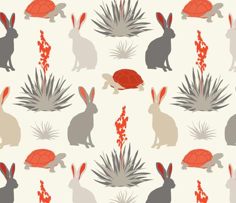 Tortoise & Hare - Red, Ivory fabric by fernlesliestudio on Spoonflower - custom fabric