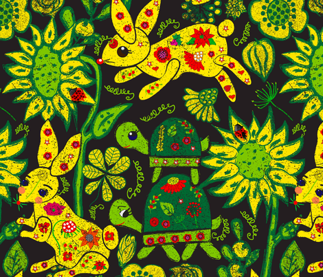 Tortoise and the Hare fabric by orangefancy on Spoonflower - custom fabric