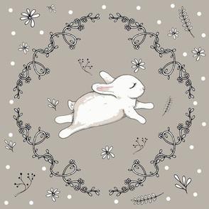 Bunny running grey