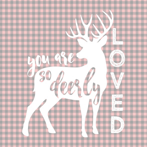 """2 YARD MINKY 54"""" panel - you are so deerly loved - pink and grey plaid"""