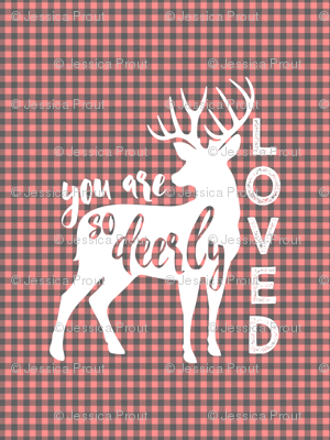 "2 yards MINKY 54"" you are so deerly loved panel - coral plaid"