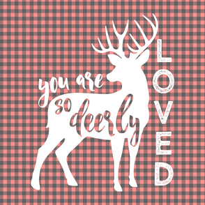 """2 yards MINKY 54"""" you are so deerly loved panel - coral plaid"""