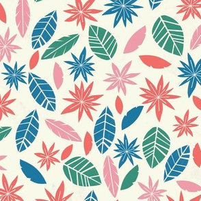 Pretty floral pattern with leaves