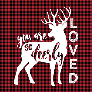"2 yards MINKY 54"" you are so deerly loved panel -buffalo  plaid"