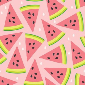 watermelon slices on pink