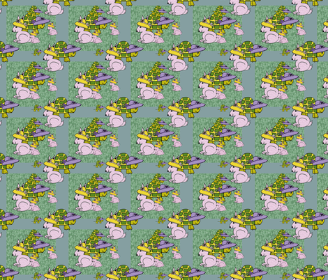 Turtle and the Rabbit Race Day fabric by flower_wall on Spoonflower - custom fabric