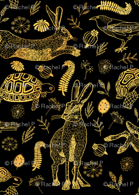 Tortoise And Hare black and sepia