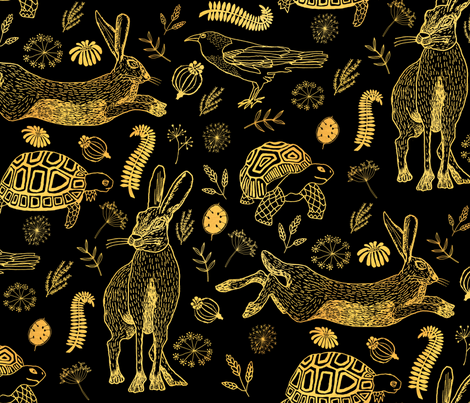 Tortoise And Hare black and sepia fabric by allknitlong on Spoonflower - custom fabric