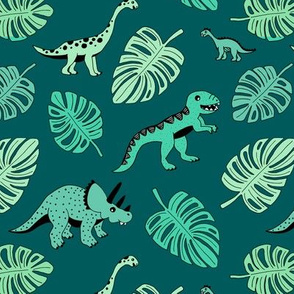 Dinosaur jungle botanical dino garden leaves boys green