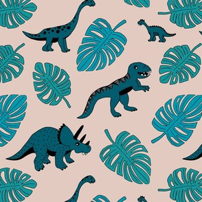 Dinosaur jungle botanical dino garden leaves kids blue teal