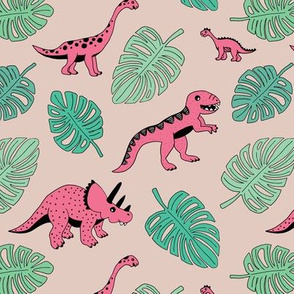 Dinosaur jungle botanical dino garden leaves girls pink and mint