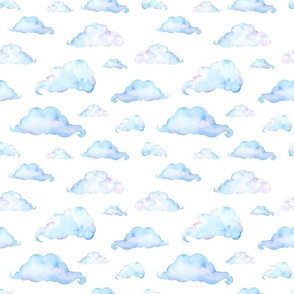 Watercolor Clouds on White Cloudy Sky