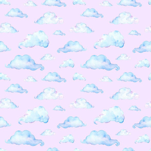 Watercolor Clouds on Pink Cloudy Sky