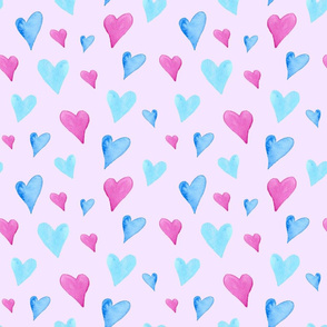Watercolor Hearts on Pink