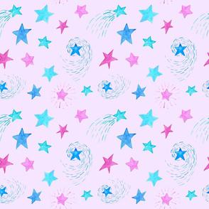 Watercolor Stars on Pink Celestial Princess