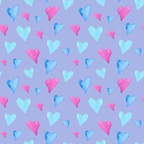 Watercolor Hearts on Purple