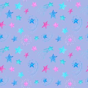 Watercolor Stars on Purple Celestial Princess