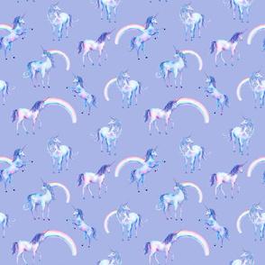 Watercolor Unicorns and Rainbows on Purple