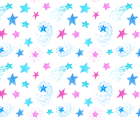 Watercolor Stars on White fabric by mommabot on Spoonflower - custom fabric