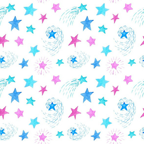 Watercolor Stars on White