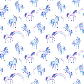Watercolor Unicorns and Rainbows on White