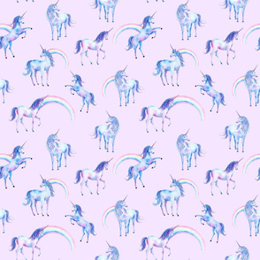 Watercolor Unicorns and Rainbows on Pink