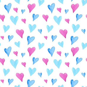 Watercolor Hearts on White