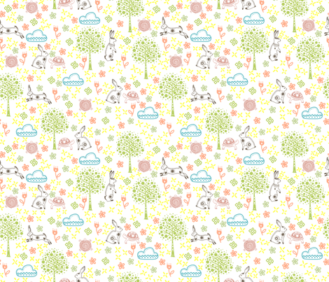 Lovely spring fabric by un_temps_de_coton on Spoonflower - custom fabric