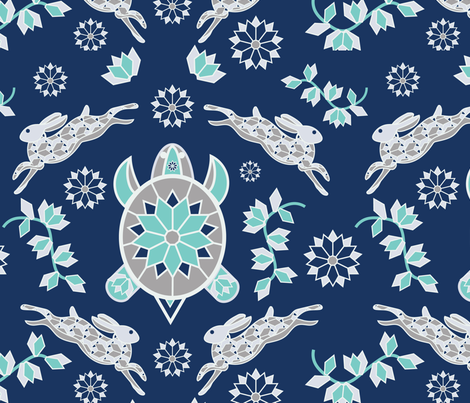 Star Tortoise & Hare fabric by kelly_l on Spoonflower - custom fabric