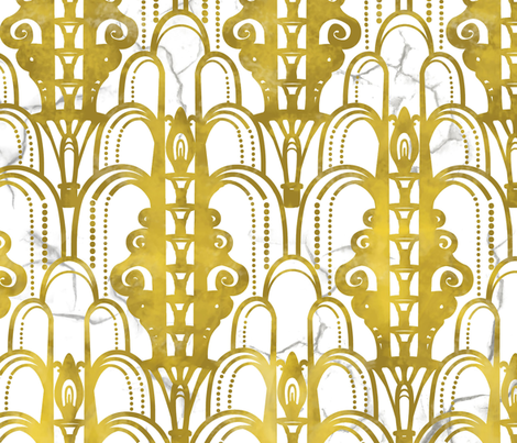 Art Deco golden arches fabric by lburleighdesigns on Spoonflower - custom fabric