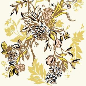 Outlander Painted Floral Sassenach Gold Dress