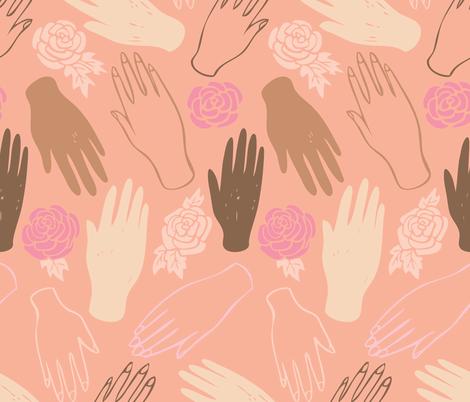 Sisterhood (peach background) fabric by charladraws on Spoonflower - custom fabric