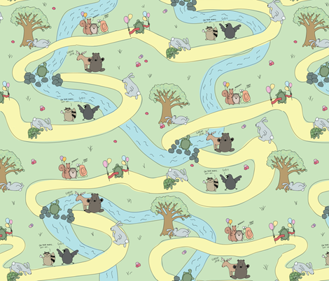 Tortoise and the Hare fabric by manateedesignsco on Spoonflower - custom fabric