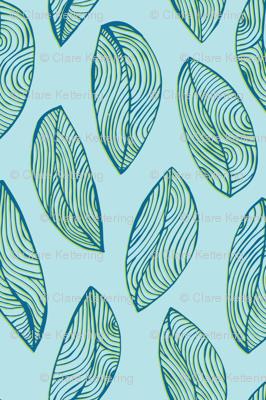 Woodgrain Leaves - Ocean Blue